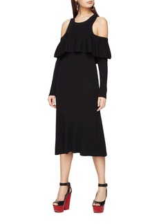 BCBGMAXAZRIA Cold-Shoulder Sweater Dress