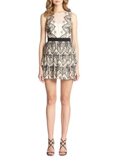 BCBGMAXAZRIA Collier Tiered Lace Dress