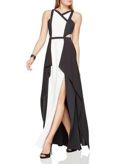 BCBGMAXAZRIA Color-Block Gown