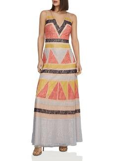 BCBG Max Azria BCBGMAXAZRIA Color-Block Lace-Appliqu� Maxi Dress
