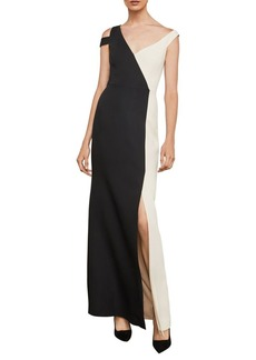 BCBG Max Azria BCBGMAXAZRIA Color-Blocked Cold-Shoulder Gown