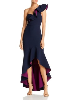 BCBG Max Azria BCBGMAXAZRIA Color-Blocked Ruffled One-Shoulder Gown