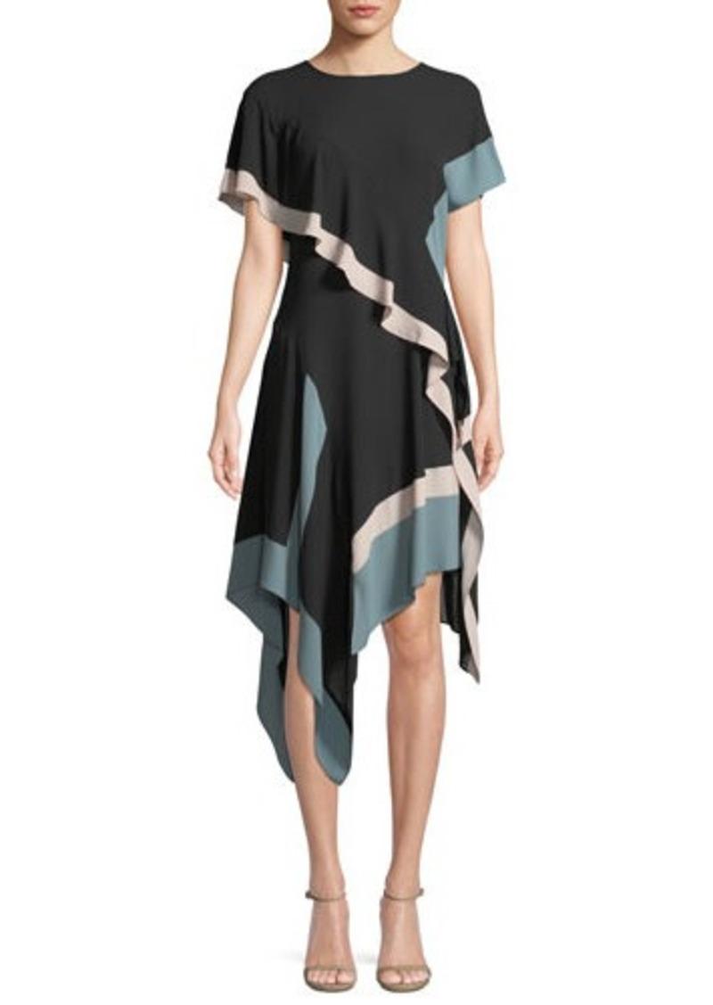 Bcbg Max Azria Bcbgmaxazria Colorblock Asymmetric Chiffon Dress