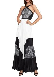 BCBG Max Azria BCBGMAXAZRIA Colorblock Pleated Maxi Dress