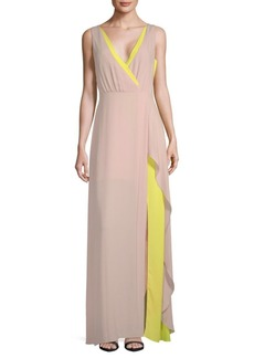 BCBG Max Azria Colorblock Wrap Slit Gown