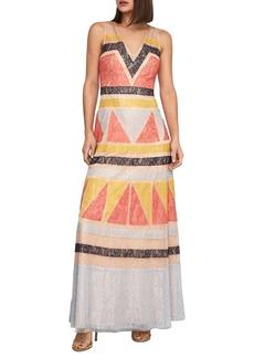 BCBG Max Azria BCBGMAXAZRIA Colorblocked Lace Maxi Dress