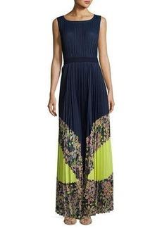 BCBGMAXAZRIA Colorblocked Pleated Maxi Dress