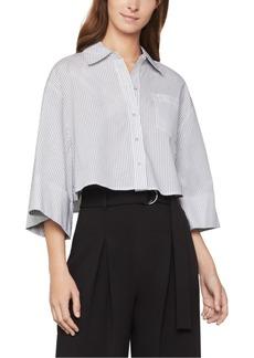 BCBG Max Azria Bcbgmaxazria Cotton Pinstriped Cropped Shirt