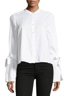 BCBG Max Azria BCBGMAXAZRIA Crewneck Bell-Sleeve Button Up