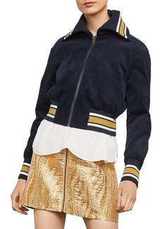 BCBG Max Azria BCBGMAXAZRIA Cropped Corduroy Varsity Jacket - 100% Exclusive