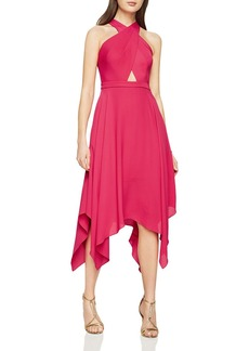 BCBGMAXAZRIA Cross-Front Halter Dress