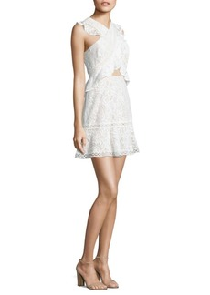 BCBGMAXAZRIA Crossover Front Fit & Flare Lace Dress