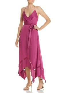 BCBG Max Azria BCBGMAXAZRIA Cr�pe-Back Satin Faux Wrap Dress