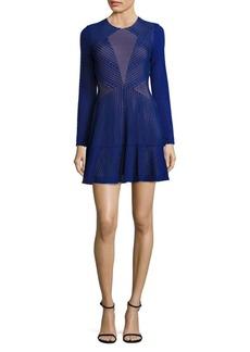 BCBGMAXAZRIA Daina Laser-Cut Fit & Flare Dress