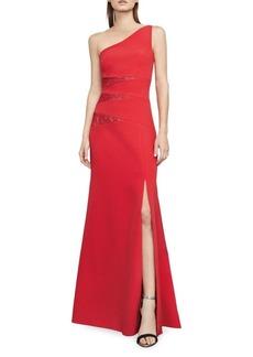 BCBGMAXAZRIA Dawson Lace-Insert One-Shoulder Gown