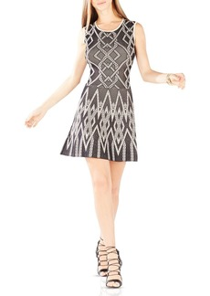 BCBGMAXAZRIA Debbie Geometric Jacquard Dress