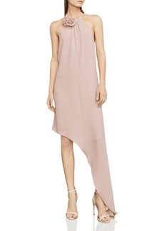 BCBGMAXAZRIA Deborah Asymmetric Halter Dress