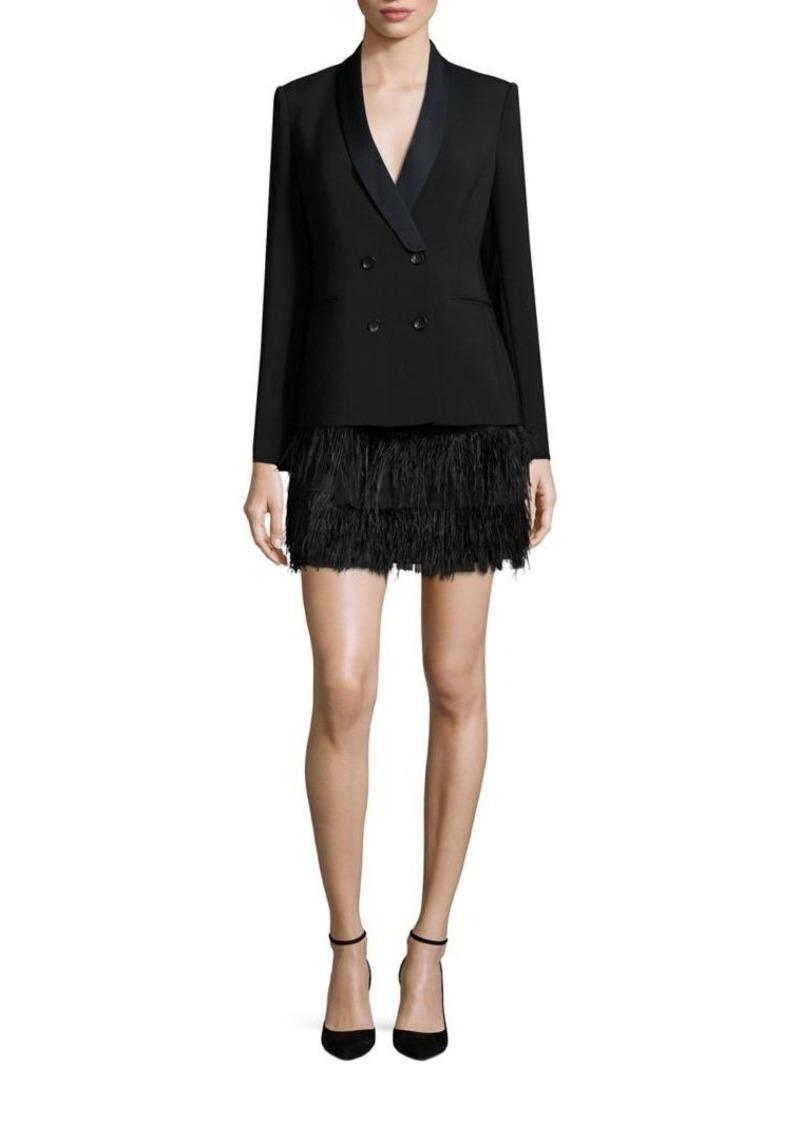 Bcbg Max Azria Bcbgmaxazria Delphina Ostrich Feather Jacket Dress