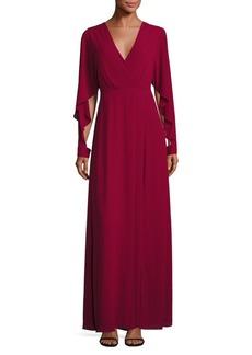 BCBGMAXAZRIA Doran Draped Sleeve Gown