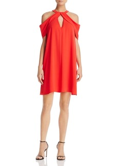 BCBGMAXAZRIA Draped Cold-Shoulder Dress