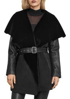 BCBG Max Azria BCBGMAXAZRIA Draped Leather & Faux Shearling Jacket