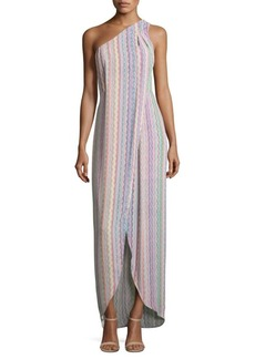 BCBG Max Azria Dries Printed One-Shoulder Gown