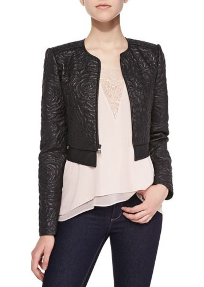 f85f8fae78c8d BCBG Max Azria BCBGMAXAZRIA Duke Floral-Embroidered Faux Leather Jacket  Duke Floral-Embroidered Faux
