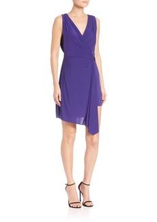 BCBG Max Azria BCBGMAXAZRIA Eda Asymmetrical Belted Jersey Wrap Dress