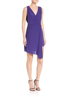 BCBGMAXAZRIA Eda Asymmetrical Belted Jersey Wrap Dress