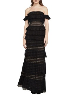BCBG Max Azria BCBGMAXAZRIA Elora Off-The-Shoulder Lace Gown