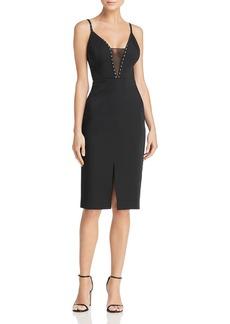 BCBGMAXAZRIA Embellished Mesh-Inset Dress