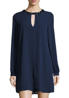 BCBG Max Azria BCBGMAXAZRIA Embellished-Neck Long-Sleeve Shift Dress