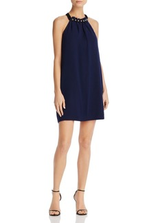 BCBGMAXAZRIA Embellished-Neck Shift Dress