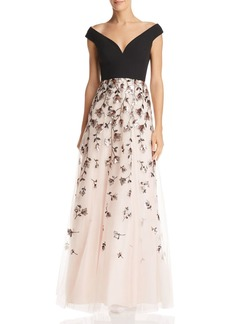 BCBG Max Azria BCBGMAXAZRIA Embellished Off-the-Shoulder Gown