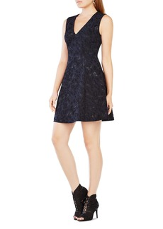 BCBGMAXAZRIA Embroidered Fit-And-Flare Dress