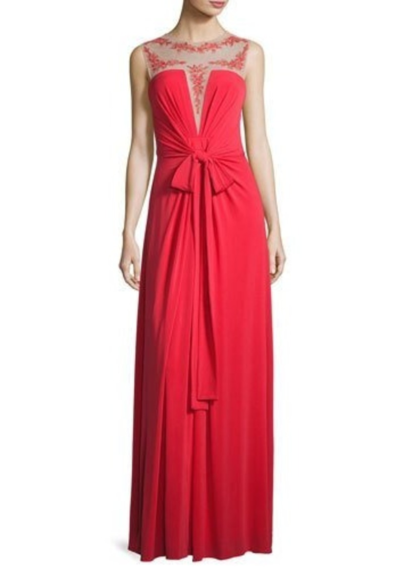 BCBG Max Azria BCBGMAXAZRIA Embroidered Illusion-Neck Gown