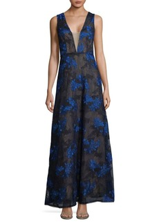 BCBGMAXAZRIA Embroidered Lace Gown