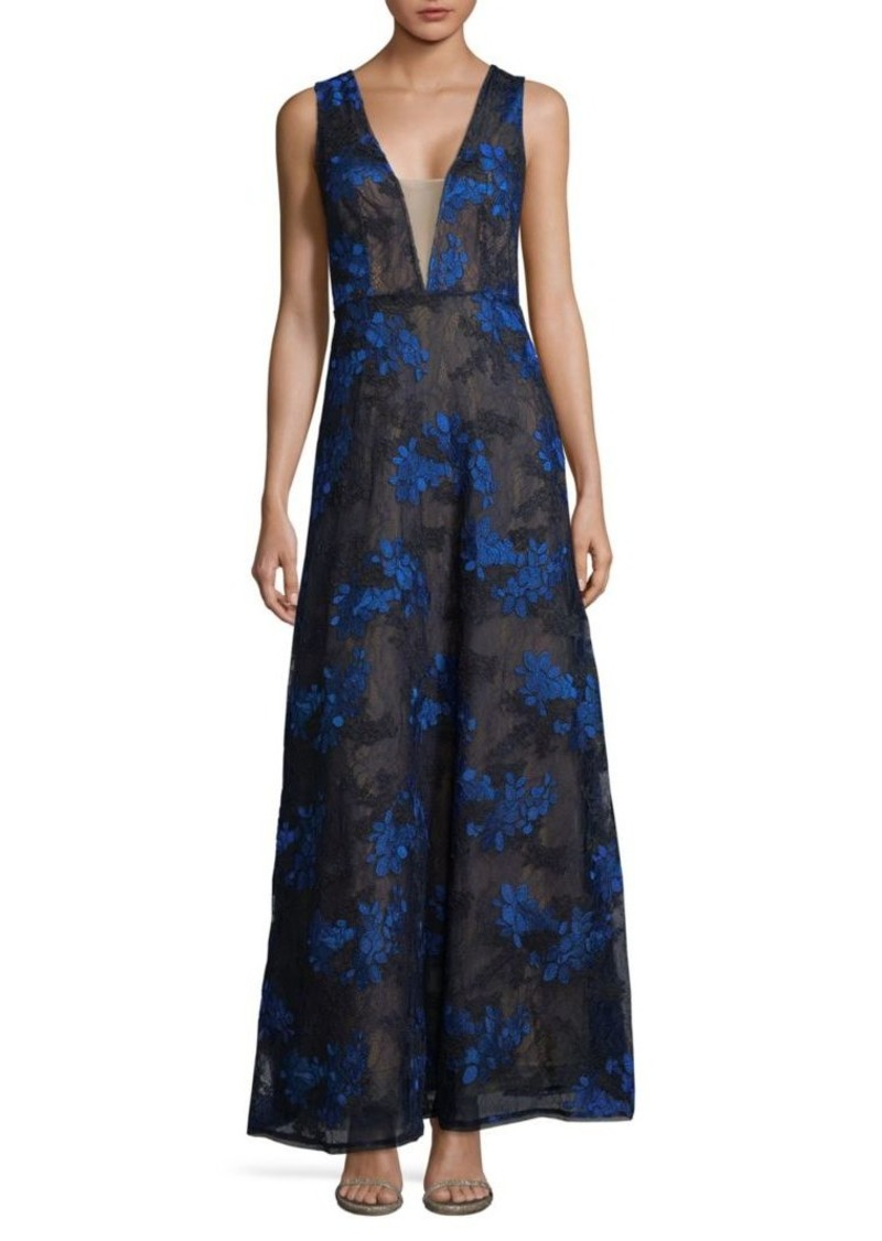 BCBG Max Azria Embroidered Lace Gown