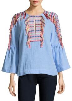 BCBG Max Azria BCBGMAXAZRIA Embroidered Tassel Chambray Blouse