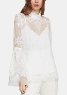 BCBG Max Azria Bcbgmaxazria Embroidered Tulle Top
