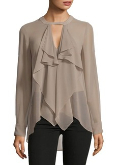 BCBG Max Azria Enya Woven Long Sleeve Top