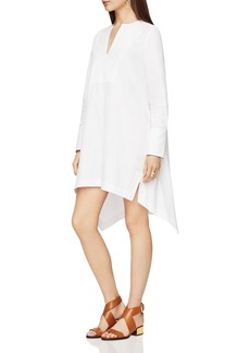 BCBGMAXAZRIA Esme Bib-Front Handkerchief-Hem Shirt Dress
