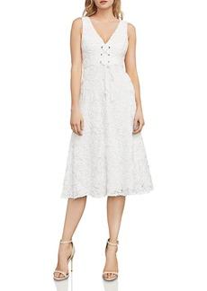 BCBG Max Azria BCBGMAXAZRIA Evanna Lace-Up Embroidered Lace Dress