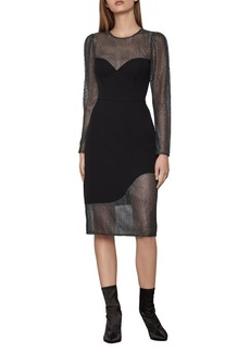BCBG Max Azria BCBGMAXAZRIA Eve Long-Sleeve Chain Mail Dress