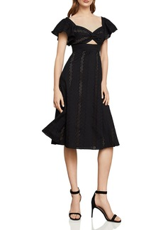 BCBG Max Azria BCBGMAXAZRIA Eyelet Fit-And-Flare Midi Dress