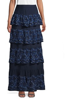BCBG Max Azria BCBGMAXAZRIA Eyelet Long Tiered Skirt