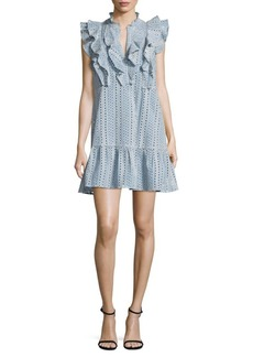 BCBGMAXAZRIA Eyelet Ruffled Cotton Dress