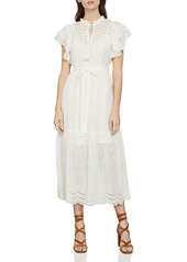 BCBG Max Azria BCBGMAXAZRIA Eyelet Ruffled Cotton Midi Dress