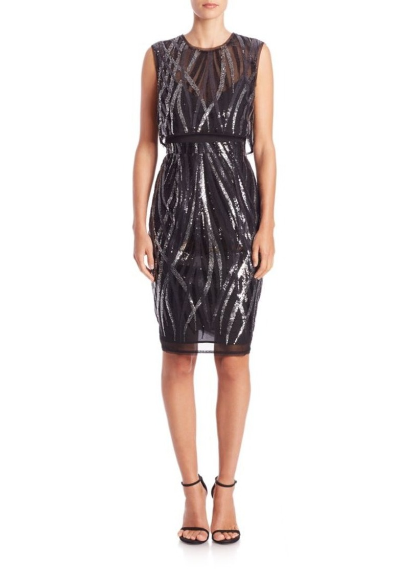 BCBG Max Azria BCBGMAXAZRIA Fallyn Sequined Popover Dress