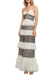 BCBG Max Azria BCBGMAXAZRIA Farrell Embroidered Lace-Trimmed Gown